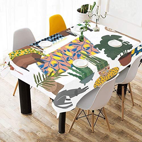 Enhusk Comedor Panos de Mesa Rectangulo Salon Arreglo Estampado de algodon Ropa de Mesa Cubierta de Tela Mantel para Cocina Comedor Decoracion 60x84 Pulgadas Mesa romantica