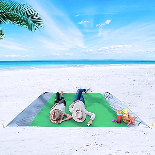 """Memboo Beach Blanket, Sand Free Waterproof Camping Mat 79""""x83"""" for 2-7 People, Oversized Compact Lightweight Picnic Tarp for Beach Camping Hiking -Green/Gray"""