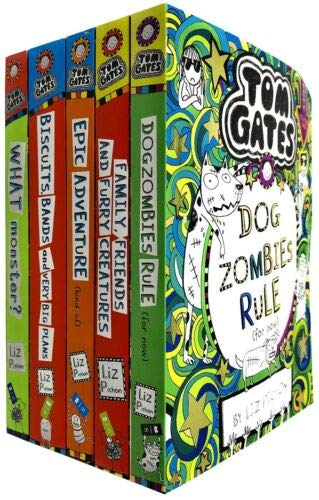 Tom Gates Series 2 Liz Pichon Collection 11-15 Books Set (Tom Gates: DogZombies Rule, Family, Friends and Furry Creatures, Epic Adventure, Biscuits, Bands and Very Big Plans, What Monster)
