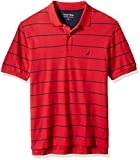Nautica mens Classic Short Sleeve Striped Polo Shirt, Nautica Red, 3X-Large US
