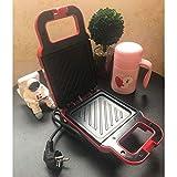PHLPS Breakfast Electric Sandwich Maker, Mini Waffle Irons Machine, Toast Barbecue Panini Pressa Barbecue alimento con Bordo Antiaderente Rimovibile, Paninis o Snack (Color : Rosso)