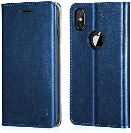 Belemay iPhone X Wallet Case iPhone 10 Case Genuine Cowhide Leather Case RFID Blocking Card product image
