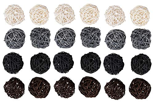 Juvale Wicker Rattan Balls (24-Pack) - Decorative Orbs, Natural Spheres for Craft DIY, Wedding Decoration, Christmas Tree, House Ornaments, Vase Fillers - 4 Colors, 45 mm