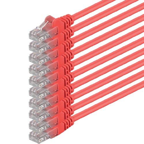 1m - Rojo - 10 Piezas - Cable de Red Ethernet con Conectores RJ45 CAT6 Cat 6 Cat.6 1000 Mbit/s