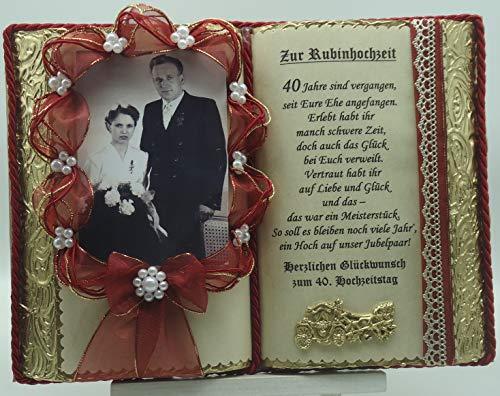 Rubinhochzeit -40-jähriges Ehejubiläum- Dekobuch rot/gold für Foto (mit Holz-Buchständer)