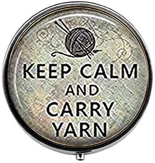 Keep Calm and Carry Yarn Knitting Jewelry Knitters Knitter's Gift - Art Photo Pill Box - Charm Pill Box - Glass Candy Box