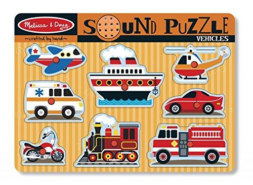 MaMeMi Melissa & Doug Tönendes Puzzle - Fahrzeuge- Passende Coole Kids-Batterien inklusive