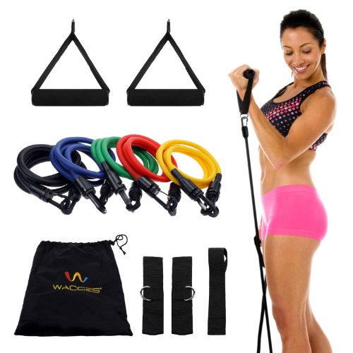 Wacces New Set of 5 Covered Resistance Bands with Door Anchor Great for Exercise