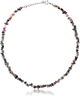 Gem Stone King Women's Tourmaline Stone Chip 17inches Necklace with 1inches Extender