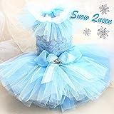 ハンドメイド雪の女王 ブルー 12層 柔らかいレース 袖チュール 犬の服 イブニングドレス犬用プリンセスワンピース (S, ブルー)