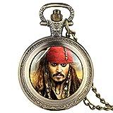Reloj de Bolsillo para Hombre, diseño de Piratas del Caribe, de Bronce, para niños, con Colgante, Movimiento de Cuarzo, Reloj de Bolsillo para Adolescentes