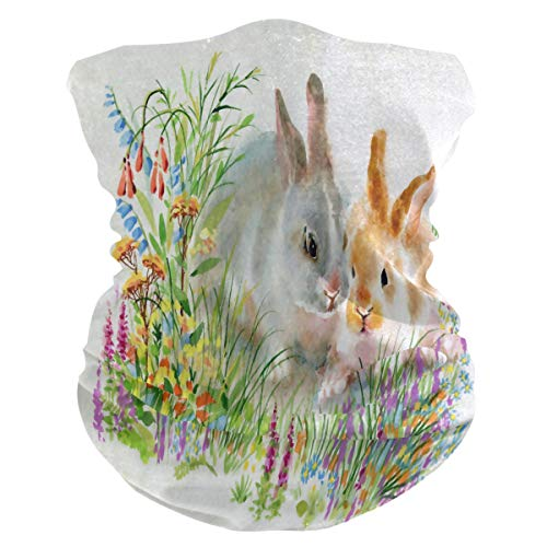 QMIN - Diadema de conejo de Pascua con diseño de conejo, bandana de protección solar, máscara de cuello, polaina, pasamontañas, para mujeres, hombres, niños y niñas