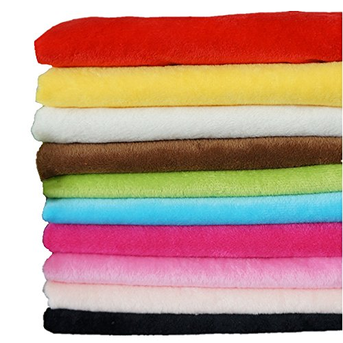 RayLineDo® 10 STÜCKE 50 * 50 cm Einfarbig Gestrickte Panne Samt Stoff Anti Pille Stoff Patchwork Polyester Fleece Tuch Für DIY Nähen Handgemachte Puppen