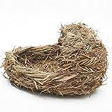 ANCLLO Hámster tejido a mano casa de hierba cueva durmiendo nido de hierba cama tejida para conejo...