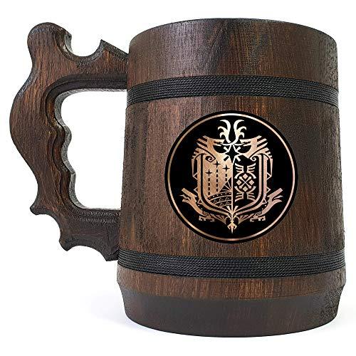 Personalized Monster Hunter World Beer Stein, Monster Hunter Engraved Beer Mug, Custom Beer Mug Gift for Gamer, Handmade Wooden Tankard