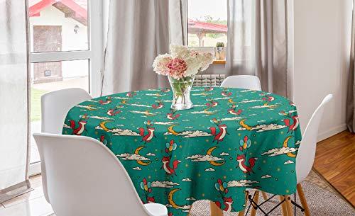 ABAKUHAUS Kinderkamer Rond Tafelkleed, Fox Flying met Ballons, Decoratie voor Eetkamer Keuken, 150 cm, Veelkleurig