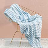 Simple&Opulence Dot Velvet Throw Blanket, Lightweight Striped Blanket for Sofa/Bed/Couch, Ultra Soft, Plush, Cozy and Warm, Blue and White, 50''x60''