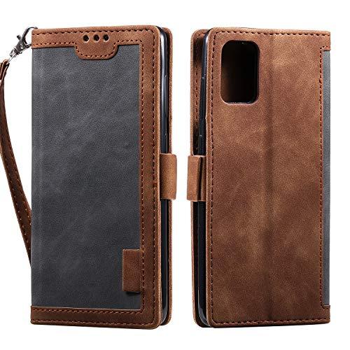 Miagon Retro Brieftasche Hülle für Samsung Galaxy A52 4G/5G,PU Ledertasche Case Cover Handyhülle mit Kartenfach Geld Slot Ständer TPU Bumper Flip Schutzhülle,Grau Braun