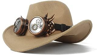 WUNONG-AU Fashion Men Women Authentic Western Cowboy hat, Fashion hat Leather Belt Cap, Jazz hat, roll-up hat, Wide hat, Jazz hat (Color : Khaki, Size : 56-58)