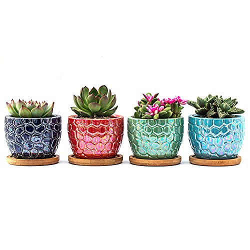 Miemour Ceramic Succulent Plant Pot, 8cm Colourful Electroplated Cracked Style Small House Indoor Outdoor Cactus Flower Planter with Bamboo Trays Set of 4