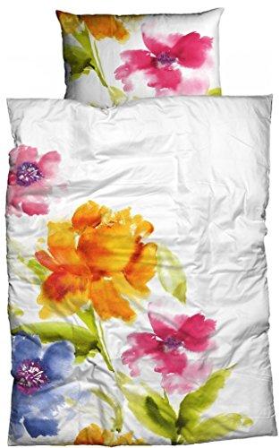 Casatex Bettwäsche Salina, Reine Baumwolle weiß-bunt 135x200 cm Aquarell Blumen Lust auf Frühling anschmiegsam hautfreundlich Bettwäsche-Set zum Wohlfühlen