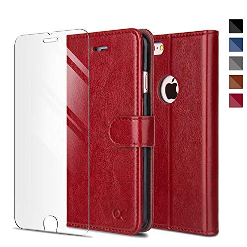 OCASE iPhone 6 Hülle Handyhülle iPhone 6S [ Gratis Panzerglas Schutzfolie ] [Premium Leder] [Standfunktion] [Kartenfach] [Magnetverschluss] Schlanke Leder Brieftasche für Apple iPhone 6/6S Rot
