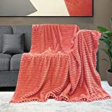NAISI Flannel Throw Blanket with Pom Pom Fringe and Super Soft Stripe Pattern Lightweight Cozy Fleece Blanket Perfect for Bed Couch Sofa (Coral, 51'x 63')
