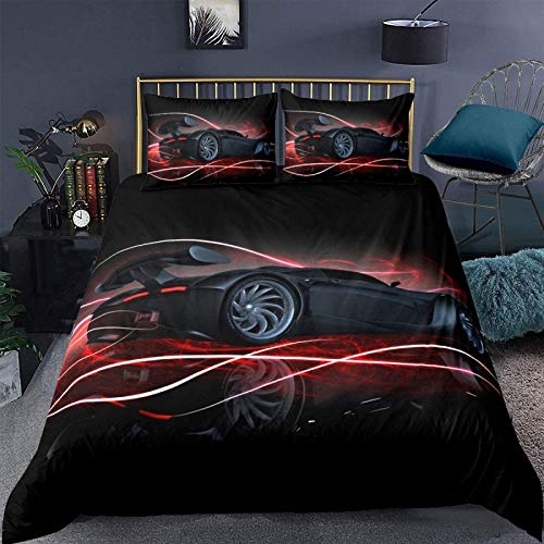 zzkds Black Red Car Duvet Cover Set King Size for Boys Kids Teens Men Speed Sports Car Bedding Set Race Car Comforter Cover with 2 Pillowcases Automobile Soft Microfiber Zipper 3 PcsKing(No Comforter)