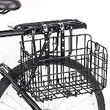 自転車かご 折りたたみ式 高さ調節可能 自転車カゴ 数秒で組み立 簡単脱着 大容量 耐荷重25KG 前かご 後ろかご バスケット 自転車 マウンテンバイククロスバイク 折り畳み自転車 通勤車等用