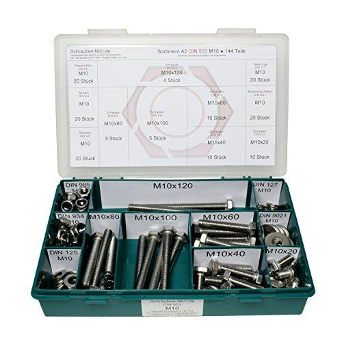 Sortiment M10 DIN 933 Edelstahl A2 (V2A) Sechskantschrauben mit Gewinde bis Kopf - Set bestehend aus Schrauben, Unterlegscheiben (DIN 125, 127, 9021) und Muttern (DIN 934, 985) - 144 Teile