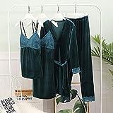 Conjuntos De Bata Y Bata De Terciopelo Dorado, Conjuntos De Pijamas De Invierno Cálidos De 4 Piezas, Pijamas De Bata De Encaje Sexis Para Mujer, Ropa De Dormir, Ropa De Dormir Para(Color:verde,Size:2)