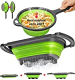 longzon Collapsible Colander Silicone [ Set of 2 ], Over The Sink Strainers 6 Quart, Diameter Sizes 8'' - 2 Quart, Colanders for Pasta Vegetable with Extendable Handles Green