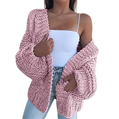Luźny Ciepły Cardigan-Kobiety Zima Faux Mohair Trykotowy Sweter Casual Płaszcz Odzież damska (Color : Rosa, Size : L)