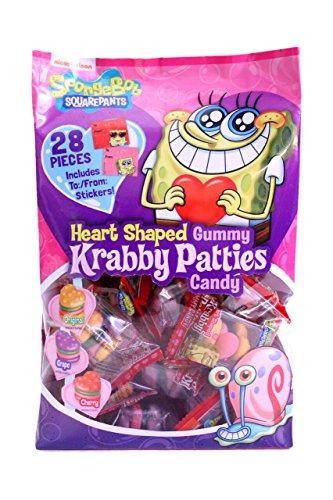 Frankford (1) 28pc Bag Spongebob Squarepants Heart Shaped Gummy Krabby Patties - Original, Grape & Cherry Flavored - Valentine's Day Candy w/'To:/From:' Stickers 8.88 oz
