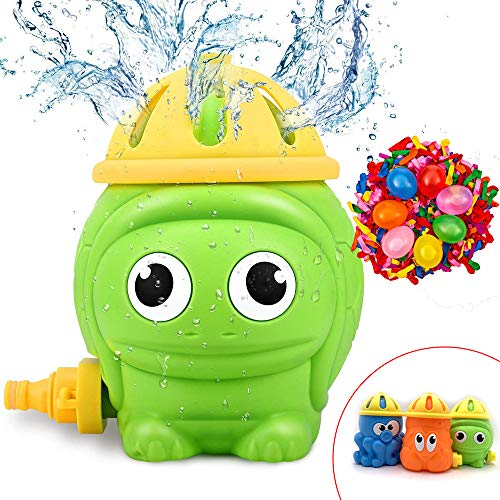 Hook Sprinkler Wasserspielzeug Garten Kinder Wassersprinkler, Sommer Outdoor Spielzeug Wasserfontäne für Kinder(Schildkröte), + 500pcs Wasserballons