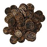 Kisangel 100 Piezas de Monedas de Pirata de Plástico para Jugar Monedas del Tesoro Accesorios para Juegos de Disfraces de Pirata para Fiestas de Cosplay Suministros