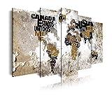 DekoArte 469 - Cuadros Modernos Impresión de Imagen Artística Digitalizada | Lienzo Decorativo para Salón o Dormitorio | Estilo Mapamundi Mapa del Mundo con Nombres de Países | 5 Piezas 200x100cm XXL