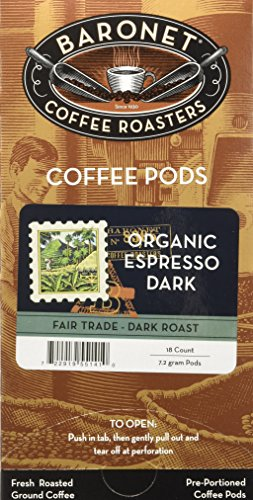 Baronet Coffee Single Fair Trade Organic Espresso ESE Pods, 18 Count (Pack of 3)