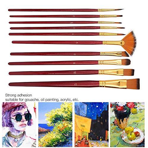 Pinceles, pinceles de 10 piezas, pinceles de nailon para el cabello para pintores artistas(Red wine)