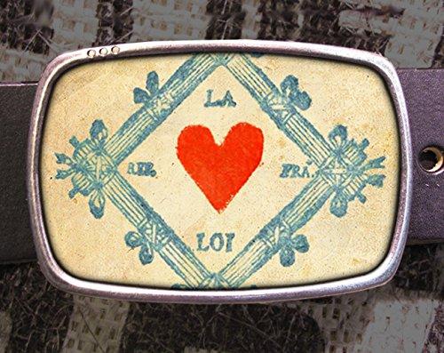 Love Heart Print Stamp Belt Buckle
