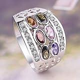 GMZWW Marke Geheimnis Weibliche Regenbogen Oval Ring 925 Silber Stein Fingerolive Grün Rubin Saphir Inlay Ring Vintage Party Für Frauen 6 Multi