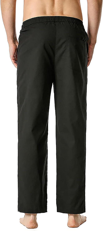 QTOCIO Pants Men's Yoga Linen trend rank Elastic Casual Waist Fashionable D