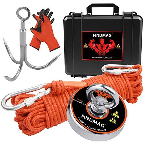 FINDMAG Magnetfischen Set 600 Pfund (272 KG) Zugkraft Magnet Angelset mit Etui, Magnetangeln, Neodym Magnet Extra Starker, Magnete Stark, Angeln Magnet für Magnetfischen im Fluss - Durchmesser 75 mm