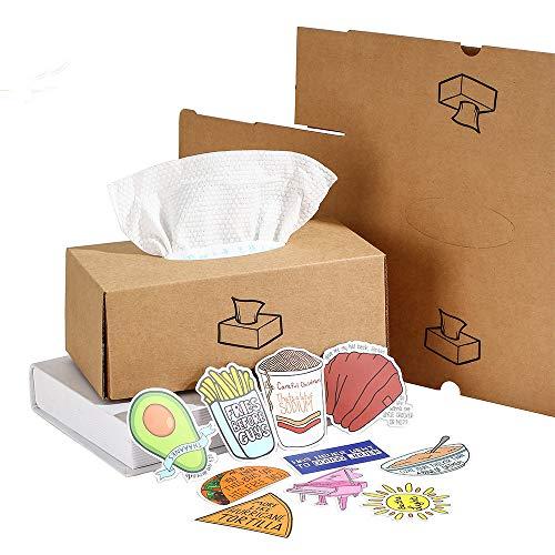 Cx Caja para Pañuelos de Papel Kraft, Minimalista Moderno Deco Caja Pañuelos Papel Dispensador Caja de Pañuelos Impermeable para el Hogar, Oficina, Automóvil, Sala de Estar (Marrón)