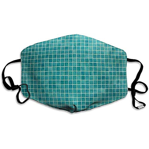 FANCYDAY Mond Maskers, Multifunctionele Maskers - Groene Badkamer Muur En Vloer Mozaïek Tegels In Azure Blauw Zwembad Porselein