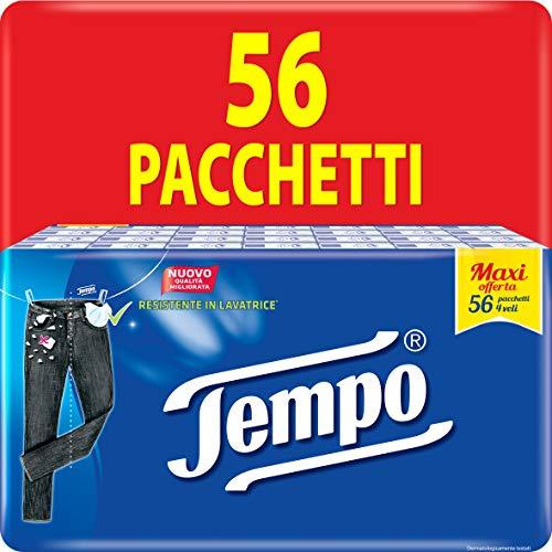Tempo Pacchetti di Fazzoletti di Carta Tascabili Classic, 56 Pacchetti da 9 Fazzolettini Monouso, 4 Veli, Resistente in Lavatrice