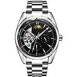 Relojes de Moda Reloj mecánico automático del Reloj Banda de Acero Inoxidable Impermeable Reloj Las Personas Que corren (Color : Black)