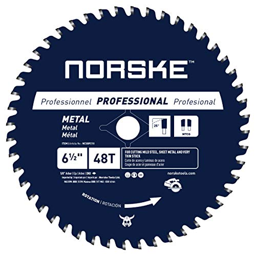 Norske Tools NCSBP210 6-1/2 inch 48T Metal Cutting Saw Blade For Steel Roofing, Metal Siding, Steel Pipe, Steel Studs & More 5/8 inch Bore with Diamond Knockout