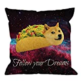 Doge Pillow Covers Decorative by HGOD Designs Doge in Taco Chicken Rolls Flying Across The Galaxy Space Fllow Your Dream Amusing Cotton Linen Pillow Case for Men/Women/18x18 inch Black Yellow