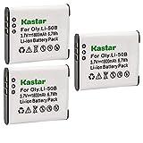 Kastar 3 Pack Battery for Olympus LI-50B LI-50C & Olympus XZ-1 SZ-30MR SZ-10 SZ-11 SZ-20 SP800UZ Stylus Tough-6020 Tough-8010 Tough-6000 Tough-8000 Tough TG-810 1030 SW TG-610 SZ10 Tough 8000 TG810